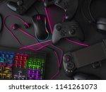 gamer workspace concept  top... | Shutterstock . vector #1141261073