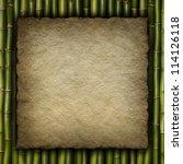 Handmade paper sheet on bamboo background - stock photo