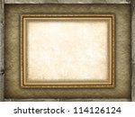 Template - picture frame on canvas and wood background - stock photo