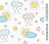 sky vector pattern. cute...   Shutterstock .eps vector #1141265363