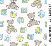 baby toys hand drawn pattern.... | Shutterstock .eps vector #1141265369
