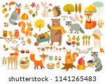 Stock vector fall theme set forest animals hand drawn style vegetables trees leaves food for harvest 1141265483