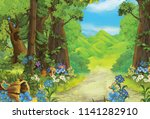 cartoon summer scene with path...   Shutterstock . vector #1141282910
