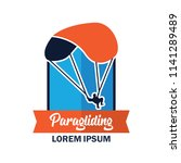 paragliding logo with text... | Shutterstock .eps vector #1141289489
