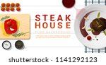 raw fresh meat and grilled meat ... | Shutterstock .eps vector #1141292123