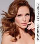 beautiful young model woman... | Shutterstock . vector #1141306010