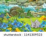 cartoon summer scene with... | Shutterstock . vector #1141309523