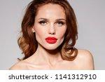 beautiful young model woman... | Shutterstock . vector #1141312910