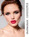 beautiful young model woman... | Shutterstock . vector #1141312913