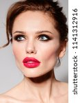 beautiful young model woman... | Shutterstock . vector #1141312916