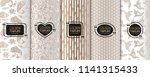 set of golden luxury templates. ... | Shutterstock .eps vector #1141315433