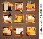 halloween paper notes....   Shutterstock .eps vector #114132100
