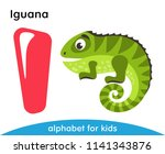 pink letter i and green iguana. ... | Shutterstock .eps vector #1141343876