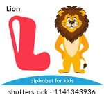 Stock vector pink letter l and a yellow lion with a brown mane english alphabet with animals cartoon 1141343936