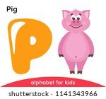 yellow letter p and pink pig.... | Shutterstock .eps vector #1141343966