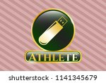 gold shiny emblem with flash...   Shutterstock .eps vector #1141345679