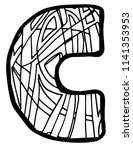 letter c coloring page | Shutterstock .eps vector #1141353953