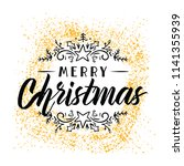merry christmas. typography.... | Shutterstock .eps vector #1141355939