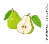 green pear isolated and half... | Shutterstock .eps vector #1141359713