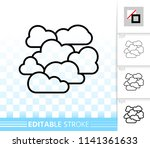 overcast thin line icon.... | Shutterstock .eps vector #1141361633