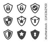 shield icon set   Shutterstock .eps vector #1141362920