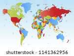 color world map vector | Shutterstock .eps vector #1141362956