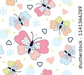 seamless pattern with butterfly ... | Shutterstock .eps vector #1141366289
