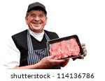 male butcher holding a tray of... | Shutterstock . vector #114136786