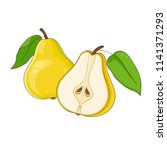 yellow pear isolated and half... | Shutterstock .eps vector #1141371293