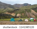 camp site at landmannalaugar in ...   Shutterstock . vector #1141385120