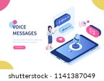voice messages concept with... | Shutterstock .eps vector #1141387049