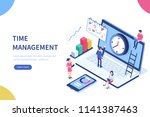 time management banner with... | Shutterstock .eps vector #1141387463