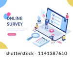 online survey concept with... | Shutterstock .eps vector #1141387610