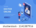 doctor online concept with... | Shutterstock .eps vector #1141387916