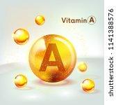 vitamin a gold shining icon.... | Shutterstock .eps vector #1141388576