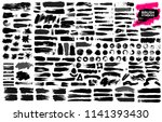set of black paint  ink brush... | Shutterstock .eps vector #1141393430