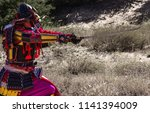 samurai in ancient armor  with... | Shutterstock . vector #1141394009