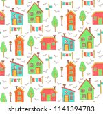 marker colored houses doodle... | Shutterstock .eps vector #1141394783