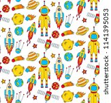 childlike colored cosmo outer... | Shutterstock .eps vector #1141395053