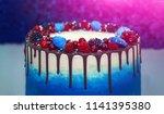 birthday. cake with chocolate... | Shutterstock . vector #1141395380