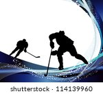 hockey player silhouette with... | Shutterstock . vector #114139960