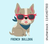 Stock vector vector icon dog breed french bulldog puppy bulldog in pink glasses french bulldog beige color 1141407503