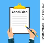 man writes conclusion....   Shutterstock .eps vector #1141408160