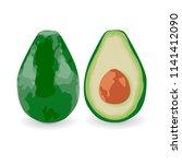vector illustration of avocado... | Shutterstock .eps vector #1141412090