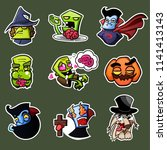 cute vector set with halloween... | Shutterstock .eps vector #1141413143