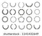 set of laurel wreaths. heraldic ... | Shutterstock .eps vector #1141432649