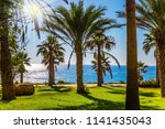 sunset on the mediterranean sea.... | Shutterstock . vector #1141435043