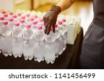 catering drinks. bottles with... | Shutterstock . vector #1141456499