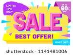 pink advertising inscription ... | Shutterstock .eps vector #1141481006