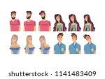 young woman  man flat avatar... | Shutterstock .eps vector #1141483409